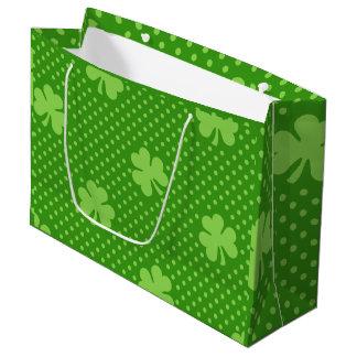 Green Shamrock Clover Pattern Saint Patricks Day Large Gift Bag