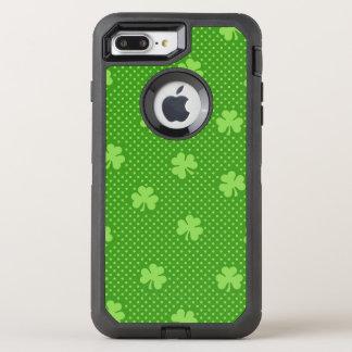 Green Shamrock Clover Pattern Saint Patricks Day OtterBox Defender iPhone 8 Plus/7 Plus Case