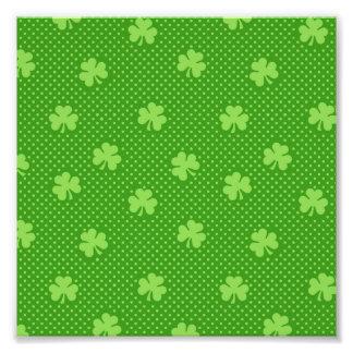 Green Shamrock Clover Pattern Saint Patricks Day Photo Print