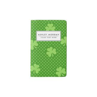 Green Shamrock Clover Pattern Saint Patricks Day Pocket Moleskine Notebook