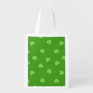 Green Shamrock Clover Pattern Saint Patricks Day Reusable Grocery Bag