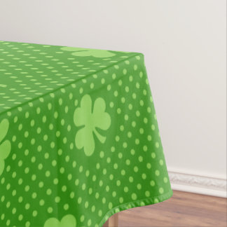 Green Shamrock Clover Pattern Saint Patricks Day Tablecloth
