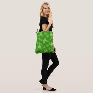 Green Shamrock Clover Pattern Saint Patricks Day Tote Bag