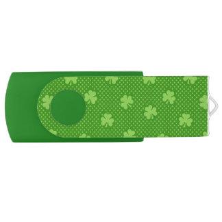 Green Shamrock Clover Pattern Saint Patricks Day USB Flash Drive