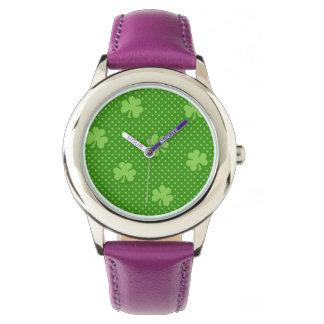 Green Shamrock Clover Pattern Saint Patricks Day Watch