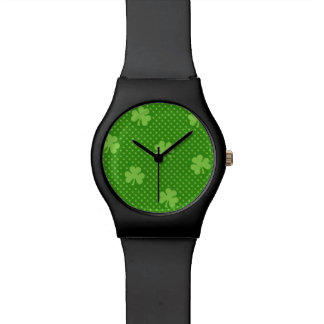 Green Shamrock Clover Pattern Saint Patricks Day Watch
