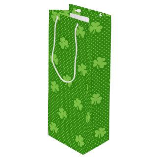 Green Shamrock Clover Pattern Saint Patricks Day Wine Gift Bag