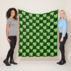 Green Shamrock Clover Polka dots pattern Fleece Blanket