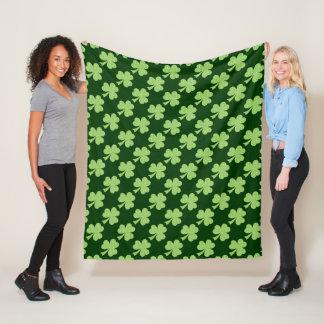 Green Shamrock Clover Polka dots pattern Fleece Blanket