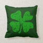 Green shamrock clover St Patricks Day throw pillow