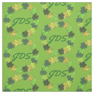 Green Shamrock Clover Wreath Monogram Irish Fabric