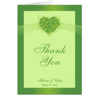 Green shamrock clovers wedding thank you card