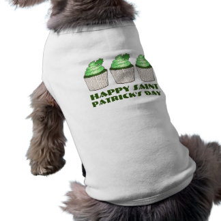 Green Shamrock Cupcake St. Patrick's Day Dog Tee