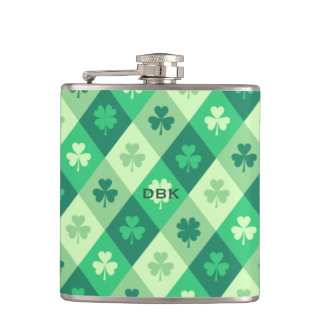 Green Shamrock Custom Monogram St. Patricks Day Flask
