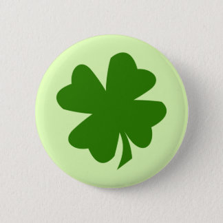 Green shamrock four leaf clover lucky St Patrick's 2 Inch Round Button