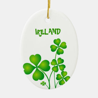 Green Shamrock From Ireland Ceramic Ornament