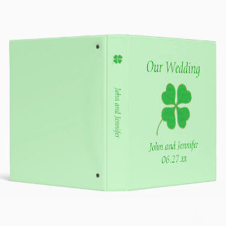 Green Shamrock Gold Dots Wedding Binders Template