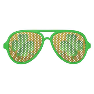 Green Shamrock Gold Glitter Saint Patrick's Day Aviator Sunglasses