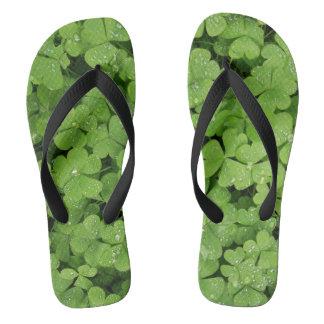 Green shamrock grass flip flops