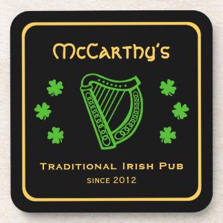 Green shamrock harp custom family name Irish pub Coaster