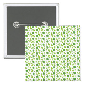 Green Shamrock Love 2 Inch Square Button