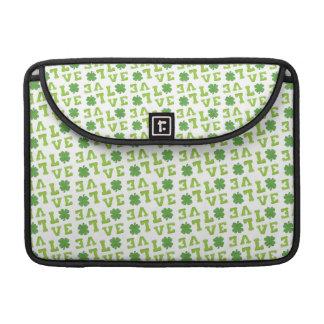 Green Shamrock Love MacBook Pro Sleeves