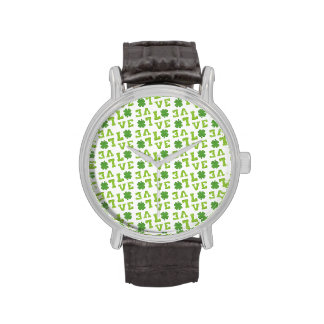 Green Shamrock Love Watch