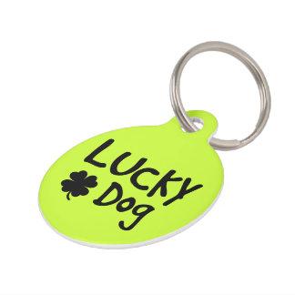 Green Shamrock Lucky Dog Custom Pet Tag