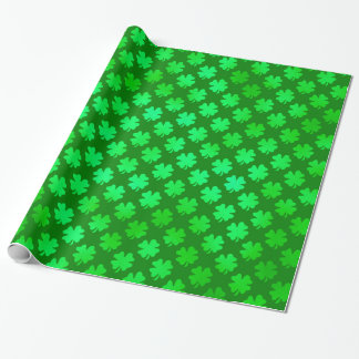 Green Shamrock Metallic Faux Four Leaf Clover Wrapping Paper