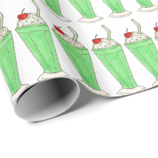 Green Shamrock Milkshake Ice Cream Shake Gift Wrap