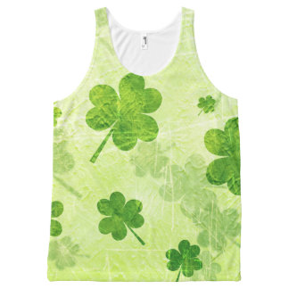 Green Shamrock Pattern All-Over-Print Tank Top