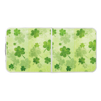 Green Shamrock Pattern Beer Pong Table