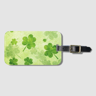 Green Shamrock Pattern Luggage Tag