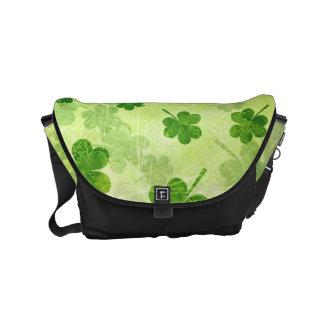 Green Shamrock Pattern Messenger Bag
