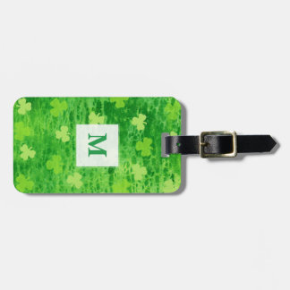 Green Shamrock Pattern ~ Monogram Luggage Tag