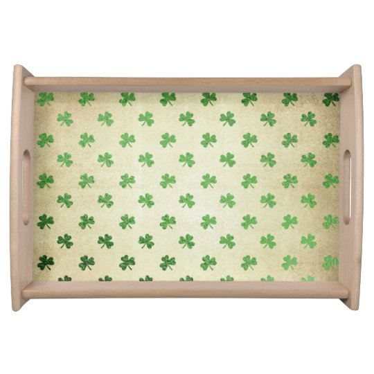 Green Shamrock Pattern Serving Tray