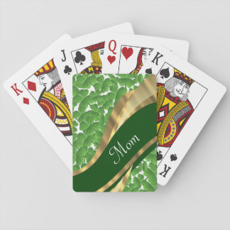 Green shamrock personalized mom playing cards