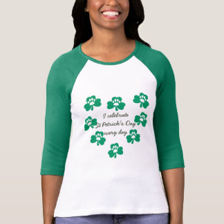 Green Shamrock Pet Paw Heart St Patrick's Raglan T-Shirt