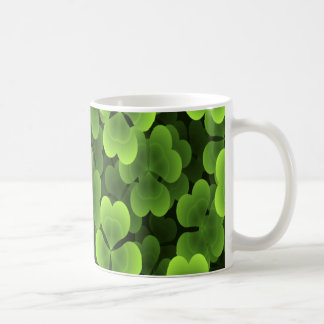 Green Shamrock Plant Pattern Coffee Mug