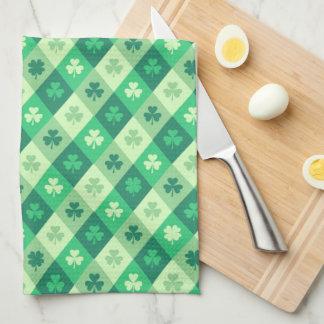 Green Shamrock Saint Patricks Day Custom Text Kitchen Towel