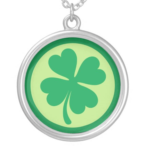 Green shamrock silver necklace