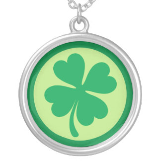 Green shamrock silver necklace