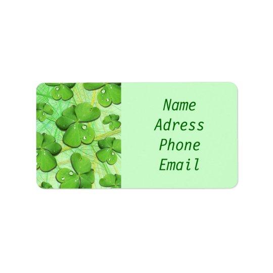 Green Shamrock St Patrick's Day address labels