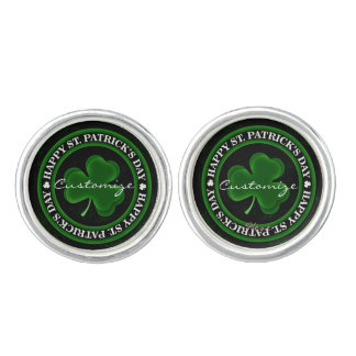 green Shamrock St Patrick's Day Cufflinks