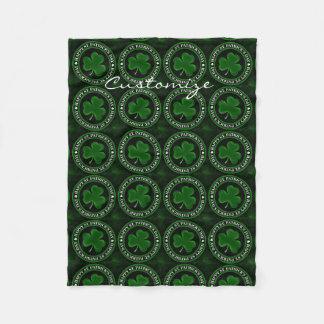 green Shamrock St Patrick's Day Thunder_Cove Fleece Blanket