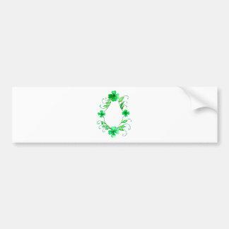 Green Shamrock Watercolor Bumper Sticker