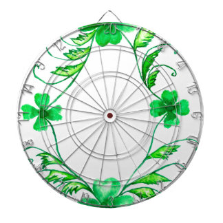 Green Shamrock Watercolor Dartboard With Darts
