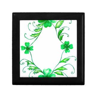 Green Shamrock Watercolor Gift Box