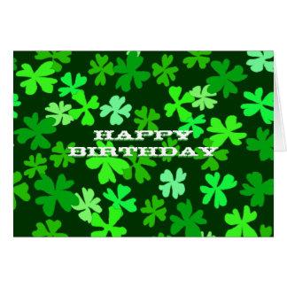 Green Shamrocks Art Happy Birthday Custom Card