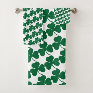 Green Shamrocks Bath Towel Set